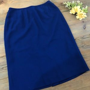 Vintage royal blue midi length pencil skirt